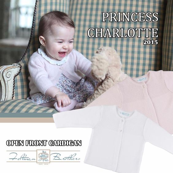 Princess Charlotte sure knows how to dress!!!  The much-anticipated, and lovely Feltman Brothers open front cardigan is now up on our site! Perfect to go over any dress or bubble! This cardigan is so dainty and elegant, it's a must have for your own princess!  Available in Pink and white in Sizes 3m-4t! http://feltmanbrothers.com/open-front-cardigan/
