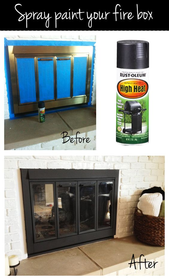Fireplace Design high heat fireplace paint : Spray paint your fire box with high heat spray paint for an easy ...