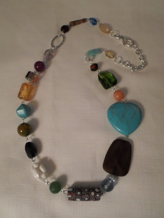 LUCITE & GLASS NECKLACE / Art Glass / Crystal / Trade by ChezRene