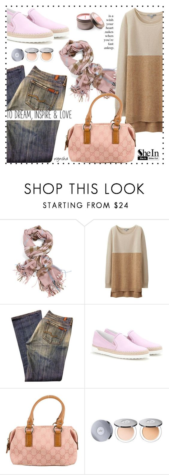 """""""SCARF Me To Your Heart #2"""" by wynsha ❤ liked on Polyvore featuring Uniqlo, 7 For All Mankind, Tod's, Gucci and PurMinerals"""