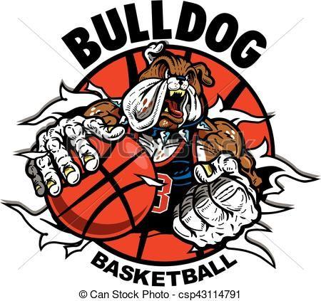 Vector - bulldog basketball - stock illustration, royalty free illustrations, stock clip art icon, stock clipart icons, logo, line art, EPS picture, pictures, graphic, graphics, drawing, drawings, vector image, artwork, EPS vector art