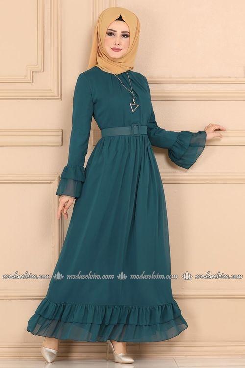 Modaselvim Elbise Firfirli Sifon Elbise 2062ab368 Petrol Sifon Elbise The Dress Elbise