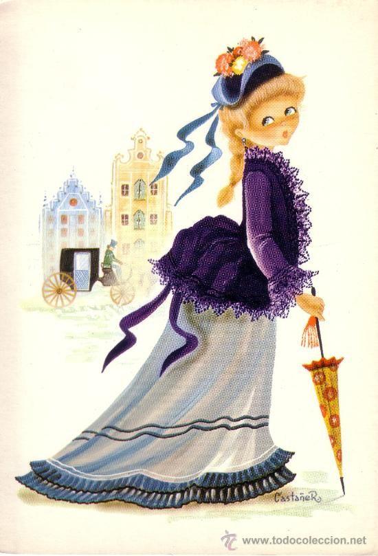 Postal Con Dibujo De Una Mujer Ataviada De Epoca Comics Antiguos Dibujo Mujer Postales