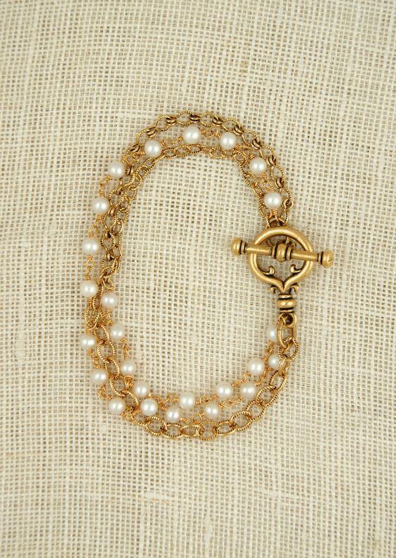 ExVoto Vintage Graham bracelet with freshwater pearls  www.exvotovintage.com