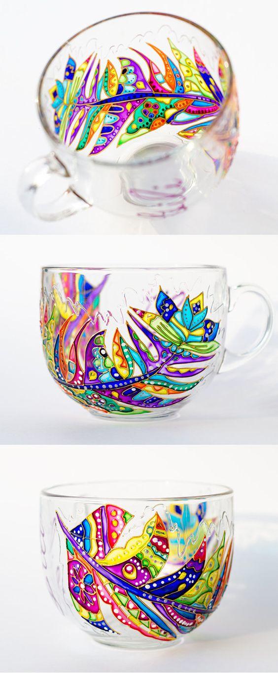 Large Coffee Mug Glass Tea Mug Feather Decor Gift for by Vitraaze