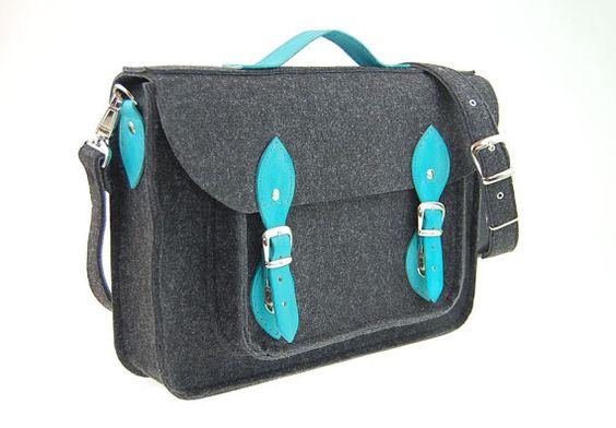 Felt Laptop bag 15 inch with pocket, satchel, Macbook Pro 15 in, Custom size Laptop bag, sleeve, case, with leather straps and belt shoulder