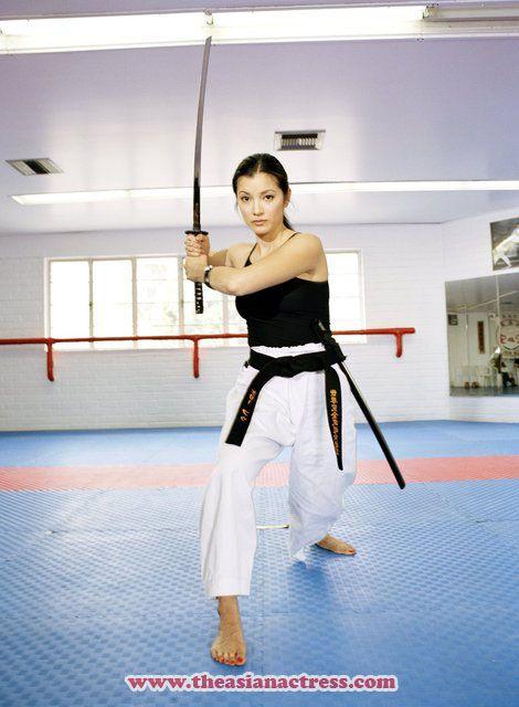Kelly Hu, she really is a ninja! She's Karai in real life.