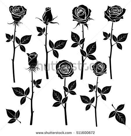 Rose Silhouettes Spring Buds Vector Symbols Black Rose With Leaf Nature Flower Roses Illustration Black Rose Tattoos Rose Vine Tattoos Rose Stencil