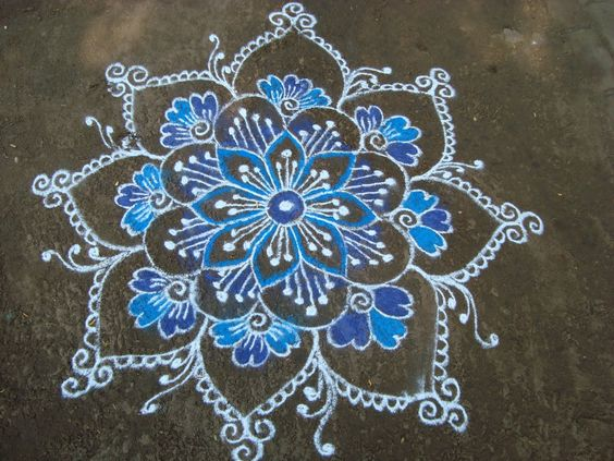 White and blue Rangoli . Nice design that can be applied in varied crafts including quilling