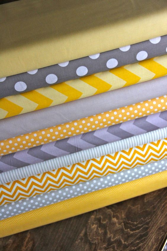 Yellow/Gray fabric bundle 1 FQ each of 10 fabrics by WhimsyQuilts, $25.00