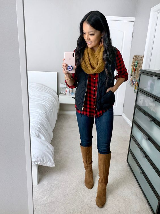 Black Vest + Red Gingham + Mustard Scarf + High boots + Statement earrings