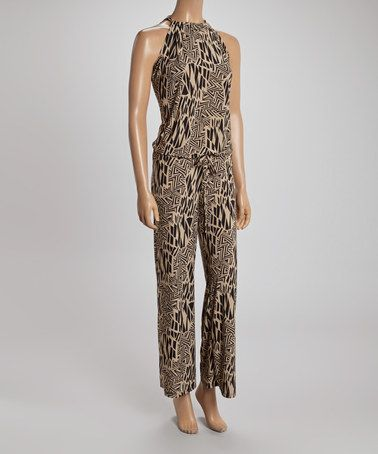 Another great find on #zulily! Gray & Black Geometric Zigzag Jumpsuit #zulilyfinds