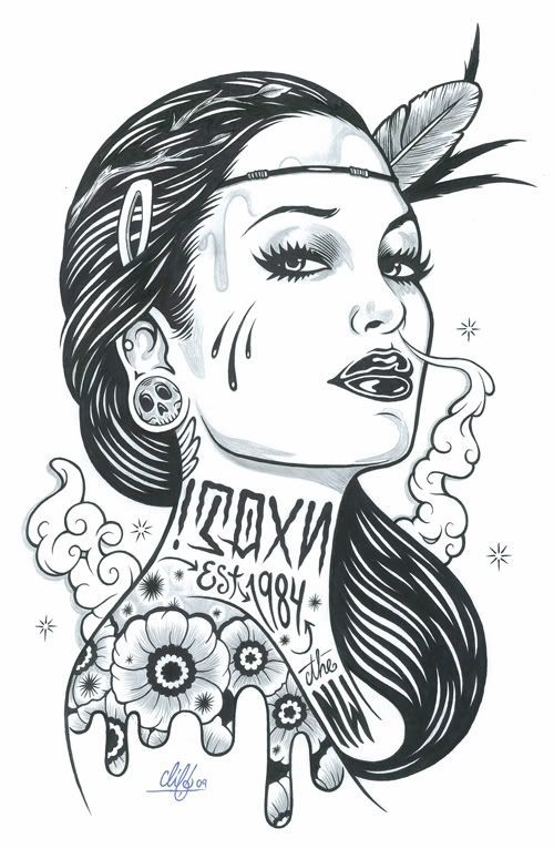 Image Result For Tattooed Girl Coloring Pages Sketches Chicano Art Black And White Illustration