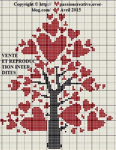 Grille gratuite point de croix arbre aux coeurs le blog de isabelle point de croix - Grille point de croix gratuite coeur ...