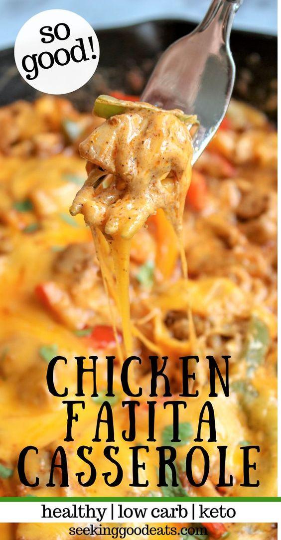 Chicken Fajita Casserole Mexican Recipe (Low Carb & Keto)