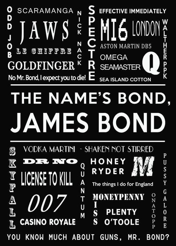 James bond print 007 download bond movie quotes original for 007 room decor