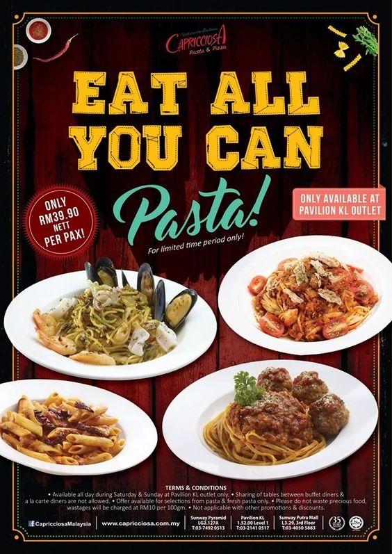 15-30 Apr 2016: Capricciosa Eat ALL you Can Pasta