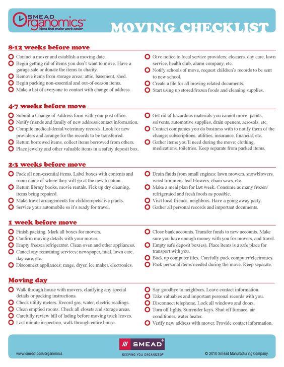 Moving Checklist WwwFacebookComCluborganomics WwwTwitterCom