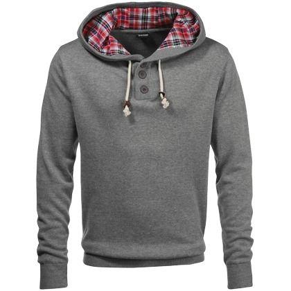 Stylischer Kapuzenpullover mit Knopfleiste ab 34,99 € Hier kaufen: http://stylefru.it/s100269 #men #grau #pullover #style