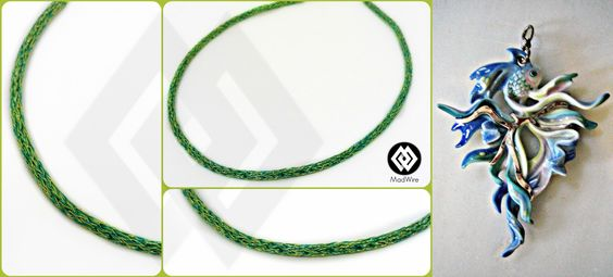 commission for a double weaved necklace turquoise and green lime to accompany this piece of jewellery.