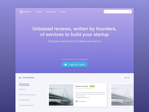 Landing Page for Start Up Incubator