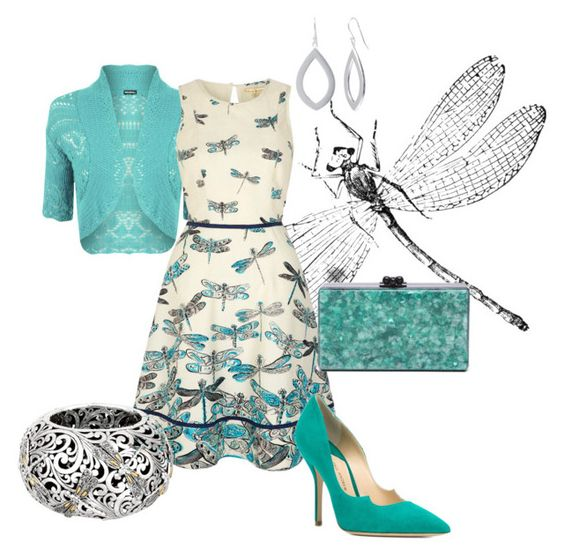 """""""Dragonfly Dress"""" by rubberchicken-queen ❤ liked on Polyvore featuring WearAll, Uttam Boutique, Paul Andrew, Phillip Gavriel and Edie Parker"""