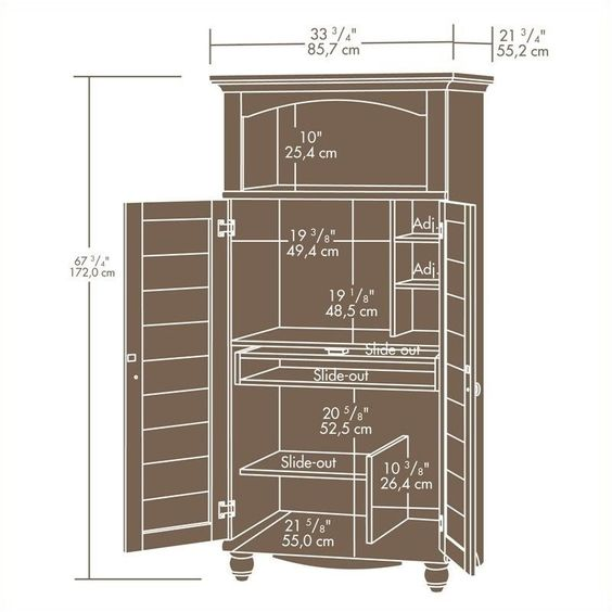 Pemberly Row Computer Armoire in Antiqued Paint - PR-371034