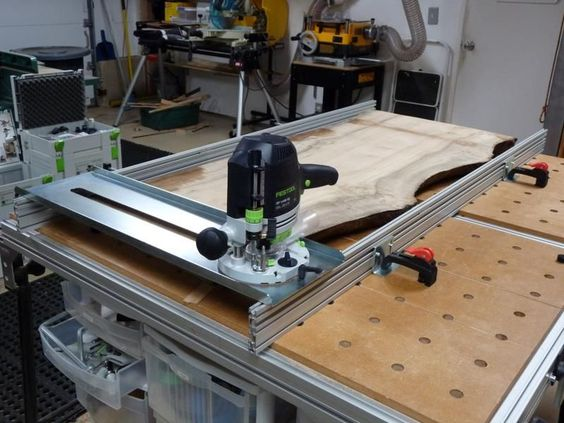 Flattening a slab table top with the festool router sled for Table festool