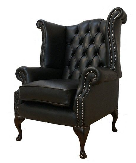 Chesterfield Queen Anne High Back Wing Chair UK Manufactured Black, Leather Sofas, Traditional