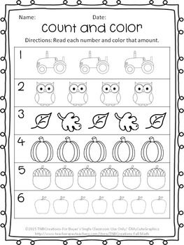 Enjoy this FREE Fall coloring and counting worksheet! Perfect for ...