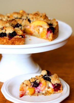 Peach Blackberry Crumble Tart