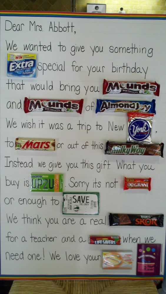 candy bar card    This was fun to do for the teacher, but you can't find all the candy you think you can find.  And if your recipient isn't a big candy fan, then what?