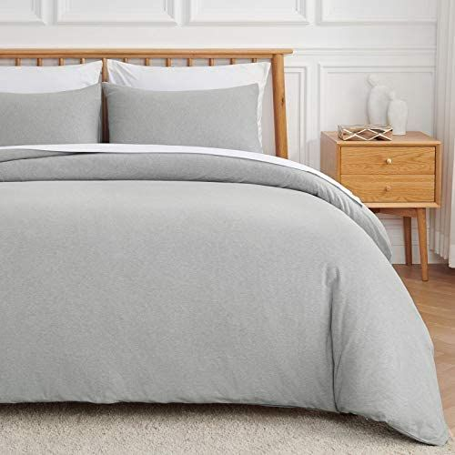 Veeyoo Jersey Knit Cotton Duvet Cover Set Queen Size Soft Easy Care Duvet Cover With Zipper Closu Duvet Cover Sets Cotton Duvet Cover Queen Size Duvet Covers
