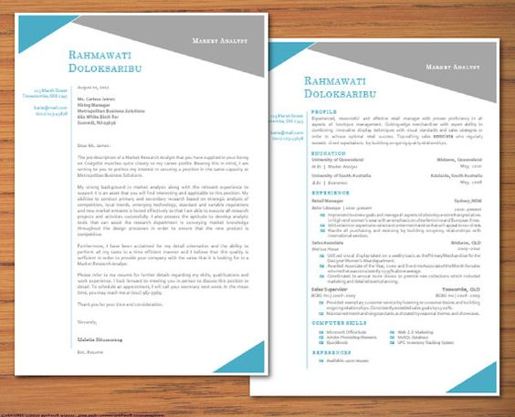 Modern Microsoft Word Resume and Cover Letter Template - Rahmawati ...