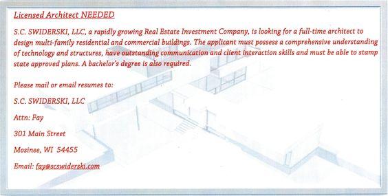 Architect NEEDED... Please pass on! #apartments #propertymanagement #rentalproperties #architect #bachelorsdegree #wisconsin #jobwanted #jobneeded #jobopportunity