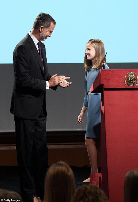 Proud father: King Felipe applauded his daughter as she finished speaking at the event. Th...