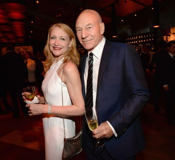 Patricia Clarkson and Patrick Stewart attend the 2015 Vanity Fair Oscar Party hosted by Graydon Cart