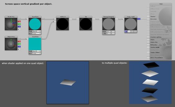 shader to have a constant vertical gradient per object (object position and rotation independent).