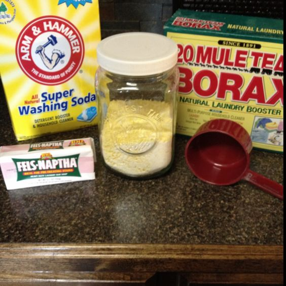 Each batch yields approximately 32 ounces (between 32-64 loads based on how many Tbsp used per load).  1 bar of shaved bar soap (Ivory, ZOTE, Fels-Naptha) 1 cup of borax 1 cup of washing soda Thoroughly stir together for 5 minutes and enjoy the results!