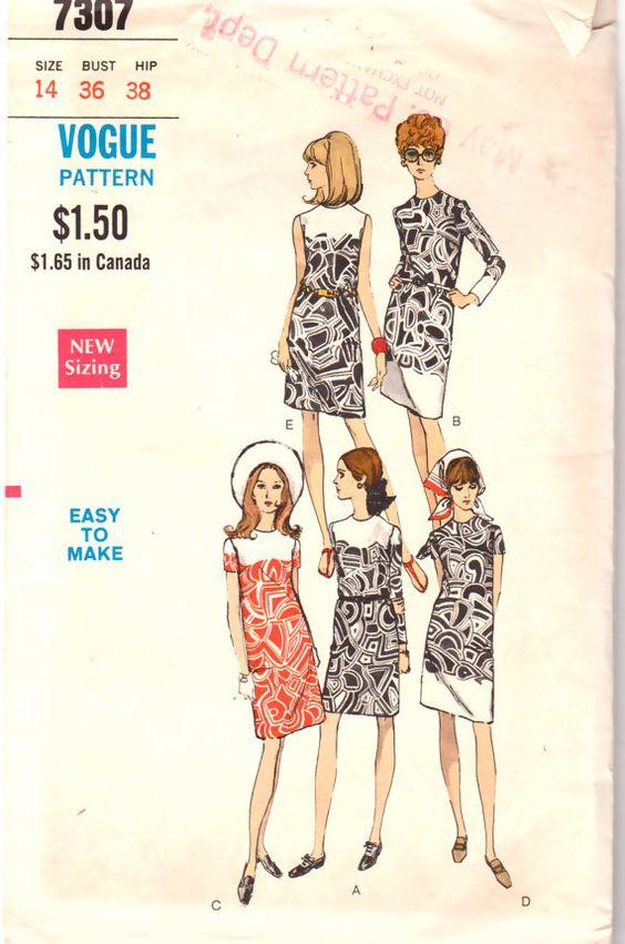 Butterick 7307 1960s Mod Shift Dress Pattern Womens vintage sewing pattern by mbchills
