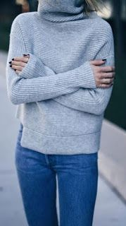 Grey Cashmere Turtleneck Sweater