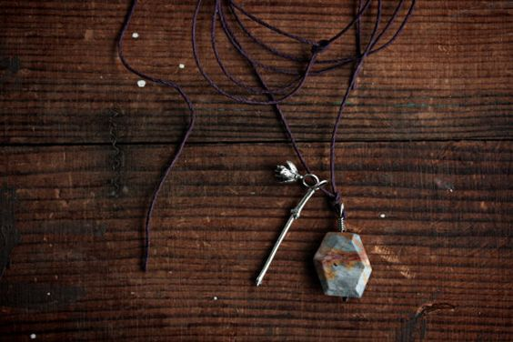 Naturalist Necklace  Jasper Pine Cone Plum by jonesingforjewelry