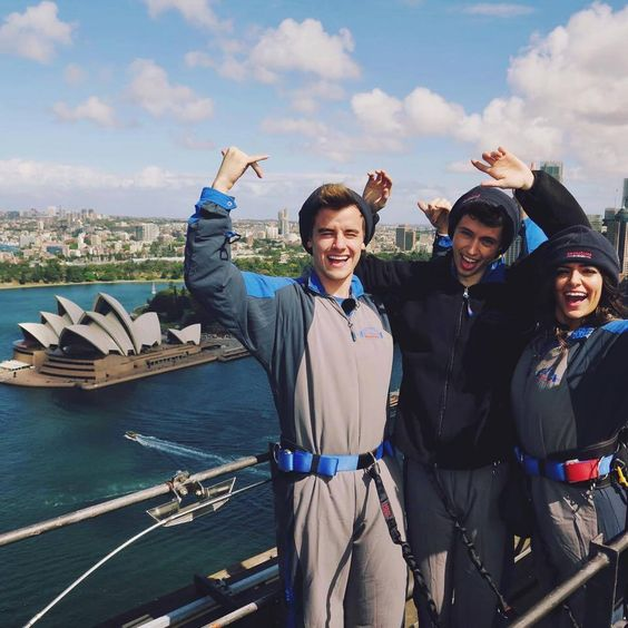 Connor, Troye and Bethany climbed the Sydney Harbour Bridge.