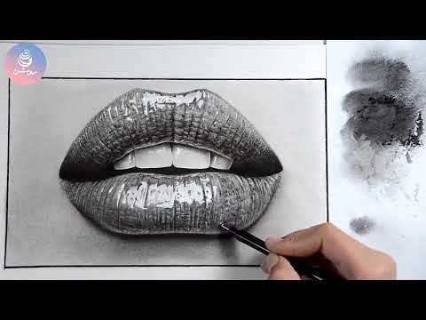 فیلم دور تند نقاشی هایپررئال سیاه قلم لب Hyper Realistic