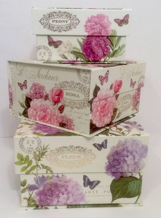 New lovelies! Abbington Park Butterfly Floral Hydrangea Paris Keepsake Organizer Storage Boxes: