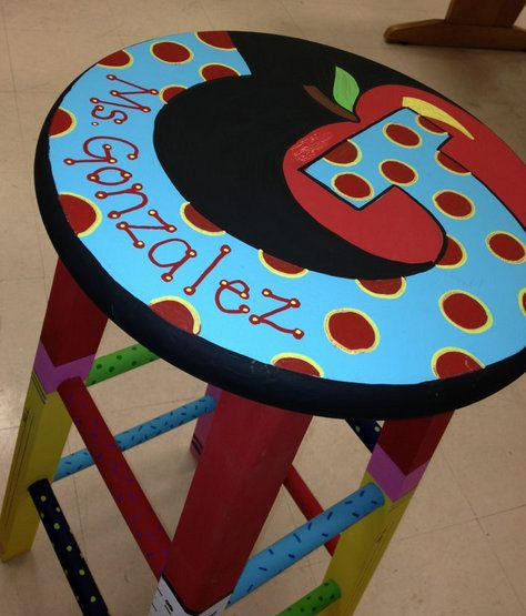 Custom Painted Stools. $45.00, via Etsy. I think I see something for my Ms. Gonzalez's