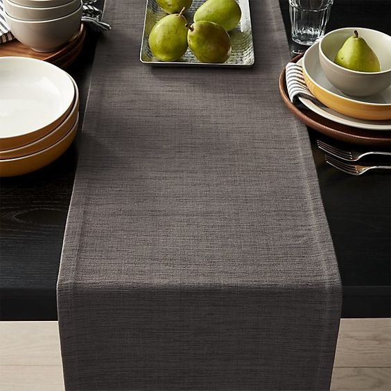 Grasscloth Graphite Grey Table Runner
