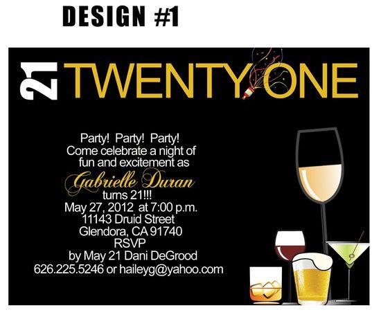 21st Birthday Invitation Birthday ideas Pinterest - free 21st birthday invitation templates
