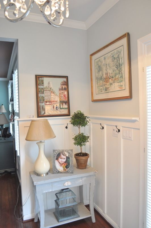 Completely updated foyer diy foyers colors and french blue for Light gray wall paint