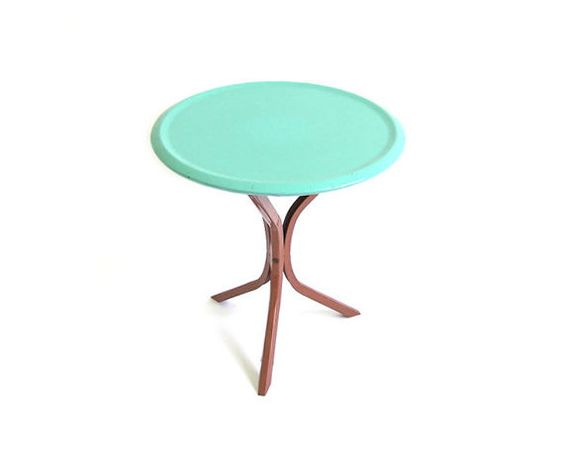 Vintage Turquoise Blue Table Mid Century Modern Furniture Atomic Side Table Blue Brown End Table Round Pedestal Tripod Table Patio Furniture